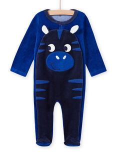 Pelele azul con estampado de cebra de terciopelo para bebé niño MEGAGREZEB / 21WH1491GRE217