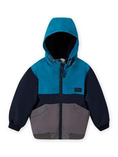 Cazadora tricolor con capucha para niño MOGROBLOU3 / 21W90252BLOC243
