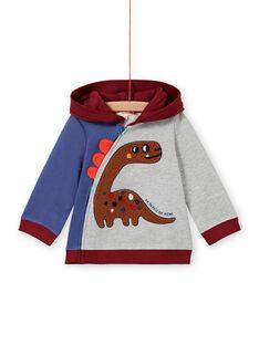 Cárdigan con capucha tricolor, con estampado de dinosaurio, para bebé niño MUPAGIL / 21WG10H1GIL943