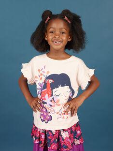 Camiseta de manga corta de color rosa pastel con estampado de niña y pavo real para niña MAPATI2 / 21W901H2TMCD319