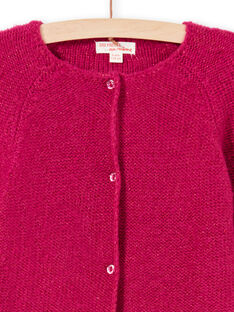 Cárdigan de manga larga liso de color rosa para niña MAJOCAR4 / 21W90122CARD312