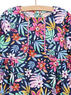 Vestido de color azul con estampado floral colorido de terciopelo para niña MAPLAROB2 / 21W901O1ROBC202