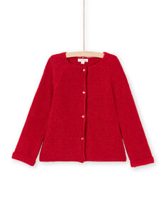 Cárdigan de manga larga liso de color rojo para niña MAJOCAR5 / 21W90121CAR511