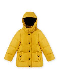 Anorak liso de color amarillo con capucha para niño MOGRODOU5 / 21W90263D3E106
