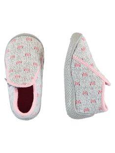 Patucos con estampado de perro de terciopelo de color gris para bebé niña GBFBOTRICO / 19WK37Z5D0A943