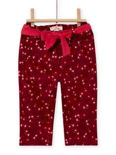 Pantalón de color rojo burdeos con estampado floral de satén para bebé niña MIFUNPAN1 / 21WG09M2PAN504