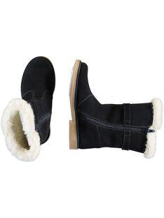 Botas invernales de piel de serraje de color azul marino para niña GFBOTTERINE / 19WK35Y3D10070