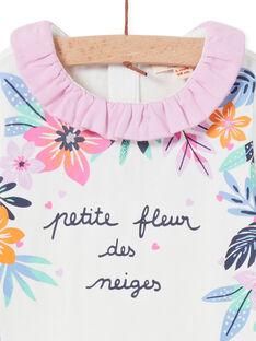 Body de color crudo con cuello avolantado y estampado floral para bebé niña MIPLABOD / 21WG09O1BOD001
