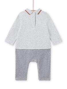 Mono de color gris jaspeado con estampado de zorro y erizo para recién nacido niño MOU1COM3 / 21WF0441CBLJ920