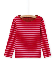 Camiseta de manga larga reversible de color camel y rojo para niña MACOMTEE4 / 21W901L4TML420