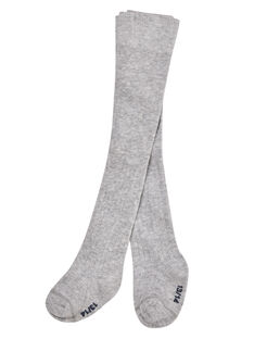 Leotardos de algodón de canalé de color gris claro para bebé niña JYIESCOL3 / 20SI0965COLJ920