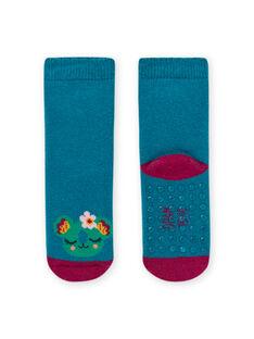 Calcetines lisos de color azul turquesa con estampado de animal para bebé niña MYIJOSOQB3 / 21WI0915SOQC217