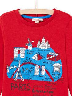 Camiseta roja de manga larga con estampado de mapa de París para niño MOJOTEE3 / 21W9022ATML505