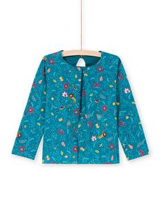 Camiseta de manga larga de color azul pato con estampado floral para niña MATUTEE4 / 21W901K2TML714