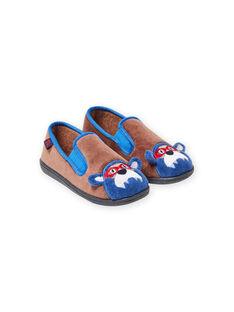 Zapatillas de casa de color topo con estampado de oso para niño MOPANTOURS / 21XK3637D0B803