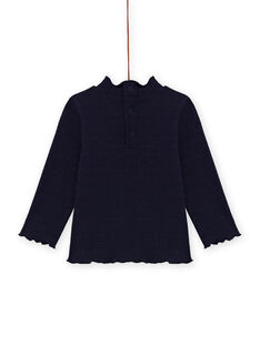 Jersey fino de color azul marino de canalé de rayas irisadas para bebé niña MIJOSOUPRIB2 / 21WG09N4SPL070