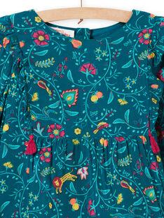 Vestido de color azul pato de twill con estampado floral para niña MATUROB1 / 21W901K2ROB714