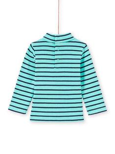 Jersey fino de color turquesa y azul marino de rayas para bebé niño MUJOSOUP1 / 21WG10N2SPL209