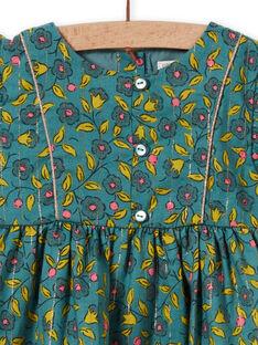 Vestido de franela de color caqui con estampado floral y de rayas para bebé niña MIKAROB1 / 21WG09I1ROB612