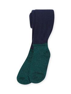 Leotardos de color azul marino y verde para niña MYATUCOL1 / 21WI01K2COL070