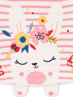 Camiseta de rayas de color blanco y rosa, para bebé niña LIHATEE / 21SG09X1TMLD305