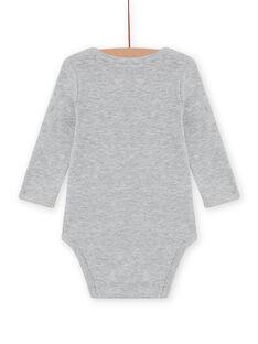 Body de manga larga de color gris jaspeado con estampado de erizo para bebé niño MEGABODSON / 21WH14C5BDLJ922