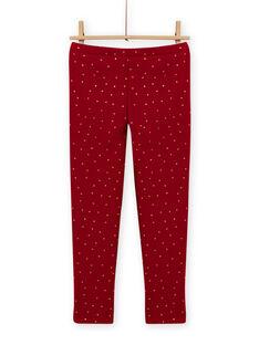 Leggings de color rojo carmín forrado de lunares para niña MAJOLEG2 / 21W901N5PANF504