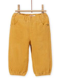 Pantalón de color amarillo de pana para bebé niño MUJOPAN2 / 21WG1013PAN117
