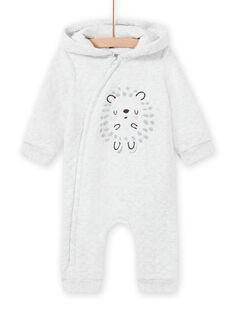 Mono con capucha de color gris jaspeado con estampado de erizo para recién nacido unisex MOU1COM1 / 21WF0541CBLJ920