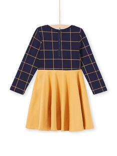 Vestido de manga larga bicolor de color azul noche y amarillo para niña MAJOROB5 / 21W90123ROBC205