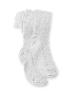 Leotardos lisos de color gris jaspeado para niña MYAJOSCOL4 / 21WI0112COL943