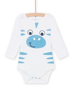 Body blanco con estampado de cebra para bebé niño MEGABODZEB / 21WH14C1BDL000