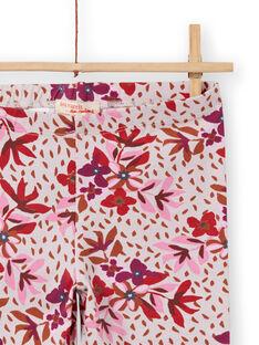 Leggings rosas con estampado floral para niña MYACOMLEG / 21WI01L1CALD329