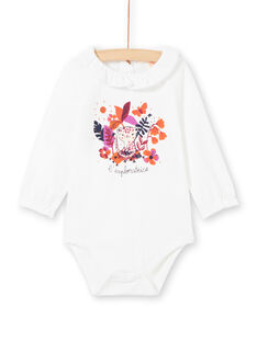 Body blanco con estampado colorido para bebé niña MIPABOD / 21WG09H2BOD001