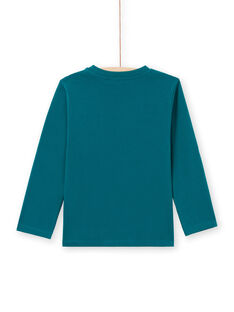 Camiseta de manga larga de color azul con estampado de tyrannosaurus para niño MOTUTEE6 / 21W902K6TML714