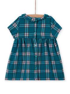 Vestido turquesa de cuadros y estampado de fantasía para bebé niña MITUROB3 / 21WG09K1ROBC217