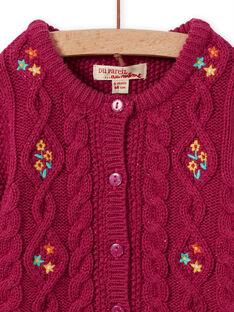 Cárdigan de punto de color rosa oscuro con bordado para bebé niña MITUCAR1 / 21WG09K1CARD312