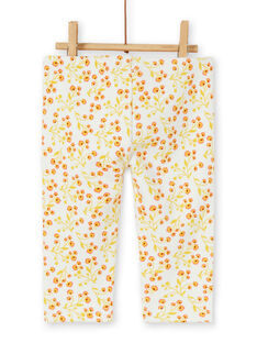 Leggings forrados de color crudo y amarillo con estampado floral para bebé niña LINAUPAN / 21SG09L1PAN001