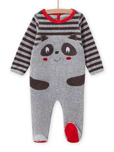 Pelele gris con estampado de panda para bebé niño MEGAGREPAN / 21WH1483GREJ918