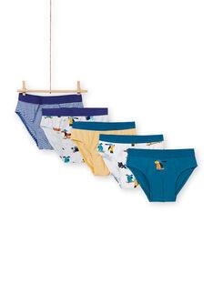 Pack de 5 slips a juego con estampado de perros para niño MEGOSLISEM / 21WH12B3D5L000