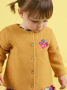 Cárdigan de color mostaza con bordado para bebé niña MIMIXCAR / 21WG09J1CARB106