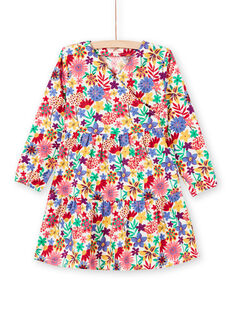 Vestido de manga larga con estampado floral colorido para niña MAMIXROB2 / 21W901J3ROB009