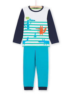Conjunto de pijama de camiseta y pantalón azul y blanco para niño MEGOPYJLOU / 21WH1233PYJJ920
