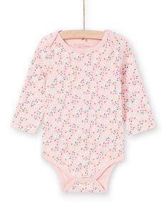 Body de manga larga de color rosa con estampado floral para bebé niña LEFIBODPLU / 21SH132BBDLD329