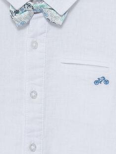 Camisa de lino de color blanco con pajarita extraíble para niño JOPOECHEM / 20S902G2CHM000