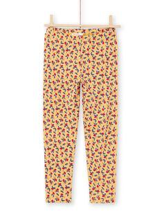 Leggings de color mostaza con estampado floral para niña MYAMIXLEG1 / 21WI01J2CALB106