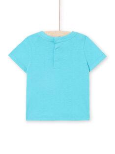Camiseta de manga corta de color turquesa, para bebé niño LUBONTI1 / 21SG10W3TMC202