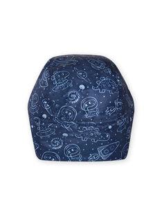Chapka de color azul noche con estampado de espacio para bebé niño MYUPLACHA / 21WI1064BONC243