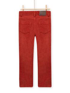 Pantalón de pana roja anaranjada para niño MOJOPAVEL7 / 21W902N3PANE408