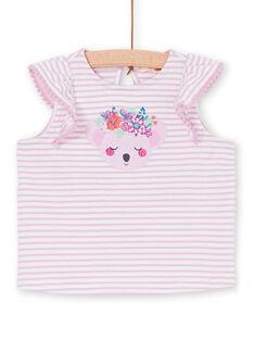Camiseta de rayas de color rosa y blanco, para bebé niña LIVITI / 21SG09U1TMC320